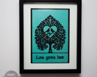 framed love grows here tree