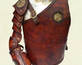Hand Crafted Leather armour - Gladiator style with brass acid etched plates, includes torso and full segmented arm