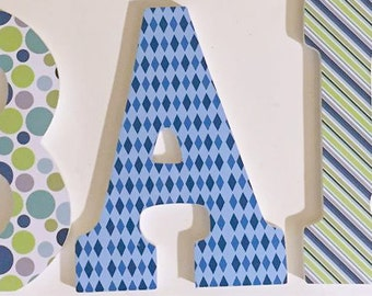 boys wall name letters, baby nursery letters in blue, Barrett, wood letters, decorative letters, custom personalized letters for wall