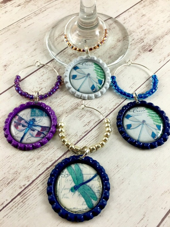 dragonfly wine charms wine glass charms drink tags