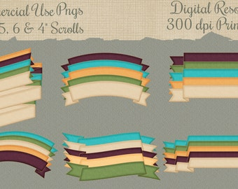 30 Commercial Use Png Scrolls Digital Download