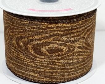 """2 1/2"""" Canvas Wood Print Ribbon - Brown - 10 Yards"""