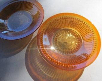 Antique Orange Carnival Flash Glass Bowls Set of 2