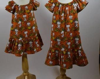 Snoopy Dress, Charlie Brown Dress, Peanuts Dress, Autumn Dress, Thanksgiving Dress Size 18 Months,Modest Dress, Baby Dress