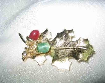 Vintage Glass Cabochon Acorn Leaf Brooch
