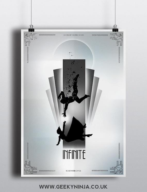 Bioshock Infinite Minimalist Poster - Bioshock Inspired Art Deco Print