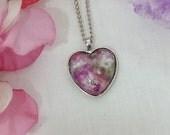 Floris & Florian -11-summer meadow -heart shaped original print pendant.
