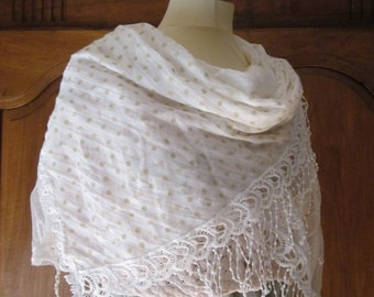 french Lace romantic scarf(sling) ivory, Almería,
