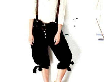 Pants - father, cotton black, strapless, T M / L