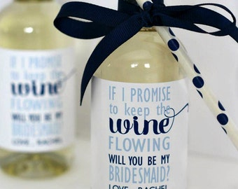 Bridesmaid Mini Wine Bottle Label - Wedding Party, Bridesmaid Gifts