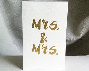 Embossed Same Sex Mrs. & Mrs. Wedding Card