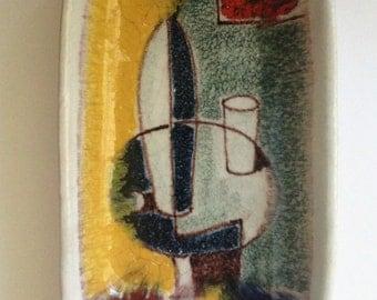 Bitossi for Raymor Italy Ashtray Handmade Hand Painted Raymor signed Vintage Italian