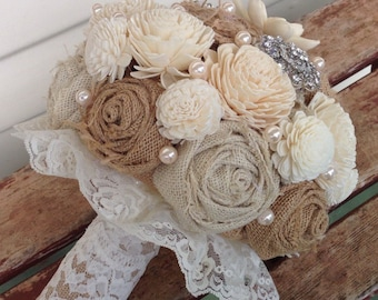 Wedding burlap bouquet, burlap wedding bouquet, burlap flowers, burlap sola wedding bouquet, weddkng flowers