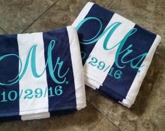 Mr and Mrs Monogrammed Beach Towels, Personalized Beach Towel, Beach towels