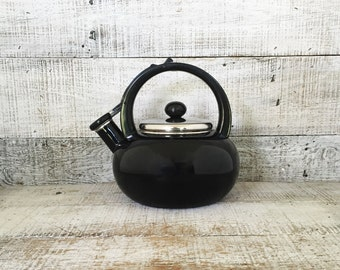 Enamel Tea Kettle Retro Black Metal Teapot with Resin Handle Vintage Whistling Tea Kettle Black Teapot Mid Century Retro Kitchen
