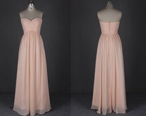 Peach Bridesmaid Dresses Long Sweetheart Backless Simple Chiffon Evening Prom Dresses 2015