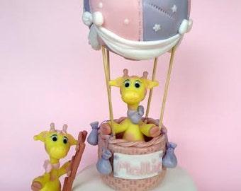 Giraffe cake topper. Hot Air Balloon Cake Topper. Lovely traveling giraffes.  . Baby Shower cake topper.