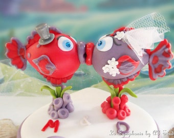 Wedding Cake Topper - Custom Lovely kissing fishes. Includes Base and Decoration