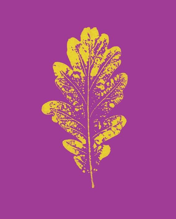 Abstract leaf digital download art print, Pop art art print, printable wall art, violet and yellow  art print, teen art, modern, abstract