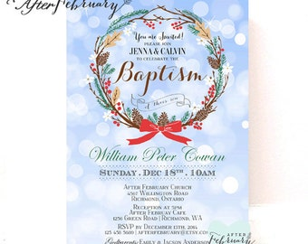 Christmas Baptism Invitation Boy Christening Invitation, Naming Day 1st Holy Communion Dedication Printable OR Printed No.722BAPTISM