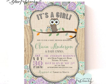 Owl Baby Shower Invitation Lavender Mint Green Girl Baby Shower Cottage Chic Floral Custom Font Color // Printable OR Printed No.939BABY
