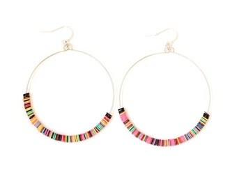 Sequin Hoop Earrings/ Hoop Earrings/ Colorful Hoop Earrings/ Festival Earring/ Tribal Earrings/ Boho Chic Earrings/ Boho Earrings