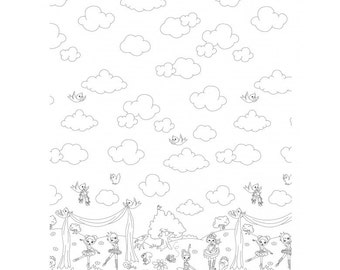 Color Me Ballerina Border print fabric by Hayley Crouse for Michael Miller fabrics