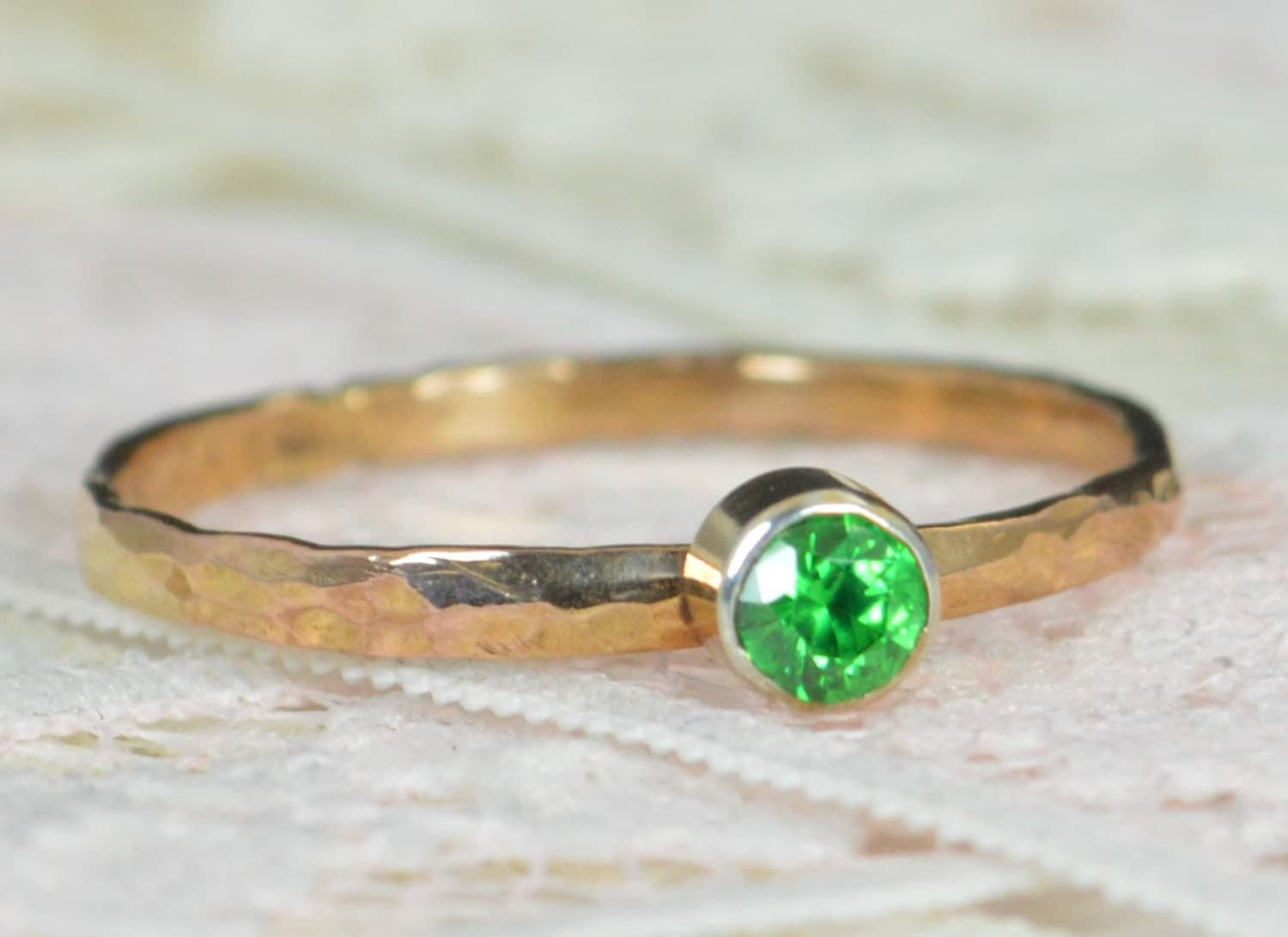 emerald engagement ring 14k rose gold emerald wedding ring set rustic wedding ring set may birthstone solid 14k emerald ring - Rustic Wedding Rings