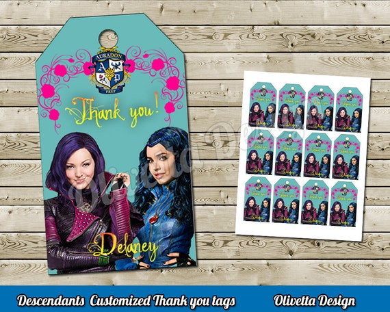 Disney Descendants Thank You Tags