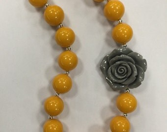 Girls Chunky Necklace, Girls Bubblegum Chunky Necklace, Mustard Yellow and Gray with flower Chunky Necklace