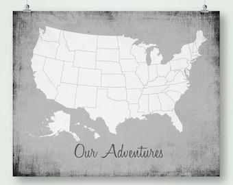 Large Us Map Etsy - Blank us state map pdf