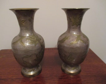 Two Indian Brass Enamel Vases