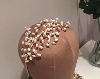Hannah freshwater pearl bridal headband