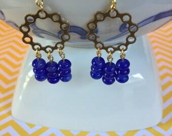 Indigo Blue Chandelier Earrings