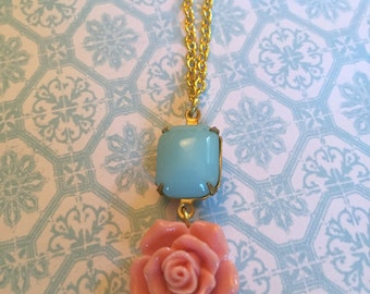 Blush rose and blue stone necklace
