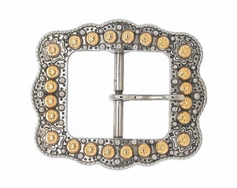 """Sunburst Buckle Silver With Rose Gold 3/4"""" 2678-NG"""