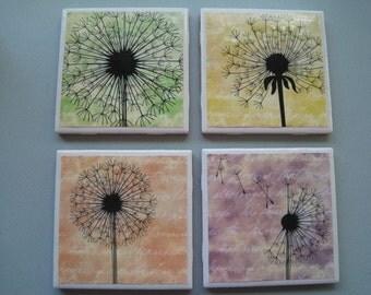 DandelionsThemed Ceramic Tile Coasters - Set of 4
