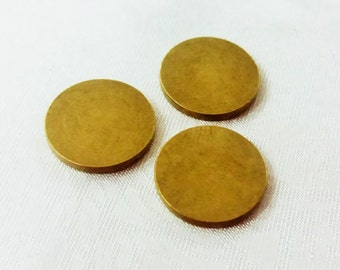 15 Gauge - 10 Pcs Raw Brass 14 mm Round Stamping Blank Disc ( No Hole -Thickness Of 1,5 mm ) 15 Gauge