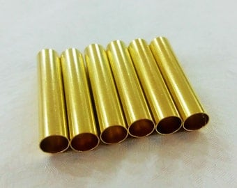 10  Pcs Raw Brass 7 x 35 mm Tube , Findings ,Pipe -inner hole of 6.4 mm