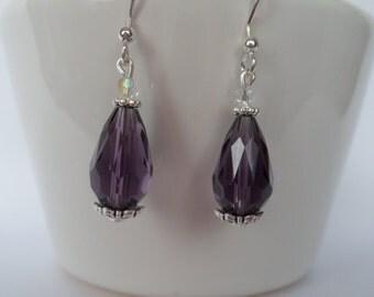 purple teardrop earrings, purple crystal earrings