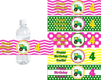 Pink Tractor Time Water Bottle Labels -  DIY PRINTABLE File Personalized Party Decorations