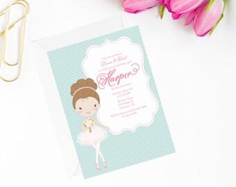 ballerina invitation, ballerina birthday, ballerina party, ballet invitation