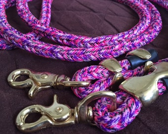 Paracord Horse Reins Tack 8 Strand Round Braid 8 ft Pink Blue Green with Brass Hardware