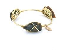 Arrowhead Bangle- Boho Jewelry- Stone Bangle- Gold Wire Bangle -Wire Wrapped Bangle - gold, silver , copper inspired by bourbon boweties