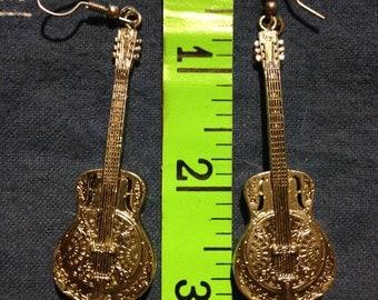 Vintage 1970's Dobro Guitar Earrings