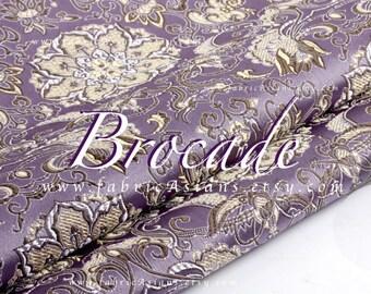 Lilac brocade. Water lily pattern - achat tissu brocat en ligne