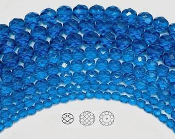 10mm (41pcs) Capri Blue, Czech Fire Polished Round Faceted Glass Beads, 16 inch strand