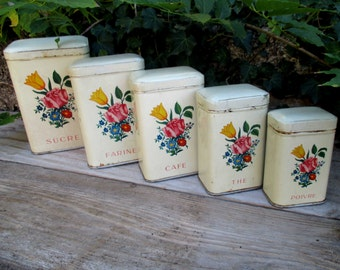 Set of five French  kitchen tins / canisters, shabby chic