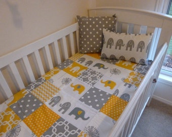 Custom Made Baby Quilt Grey and Yellow Elephants