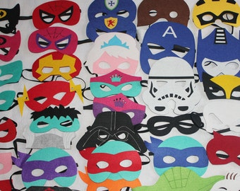 Deluxe Felt SUPERHERO MASK -  Ironman, Spiderman, Captain America, Spidergirl, Hulk, Thor, MORE